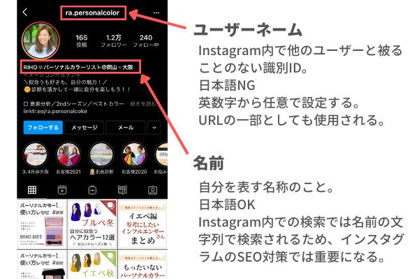 インスタグラム(Instagram)のユーザーネームと名前の違い